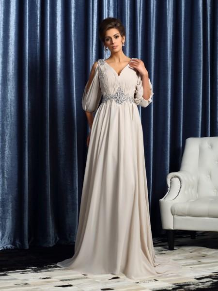 41b395f7fa A-Line Princess V-neck Beading 1 2 Sleeves Long Chiffon Mother of the Bride  Dresses