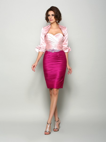 66844955849 Sheath Column Sweetheart Beading Short Satin Mother of the Bride Dress
