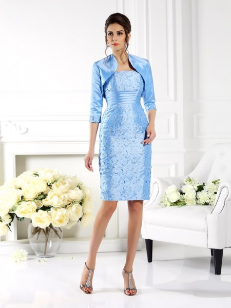 Sheath/Column Straps Short Taffeta Mother of the Bride Dress