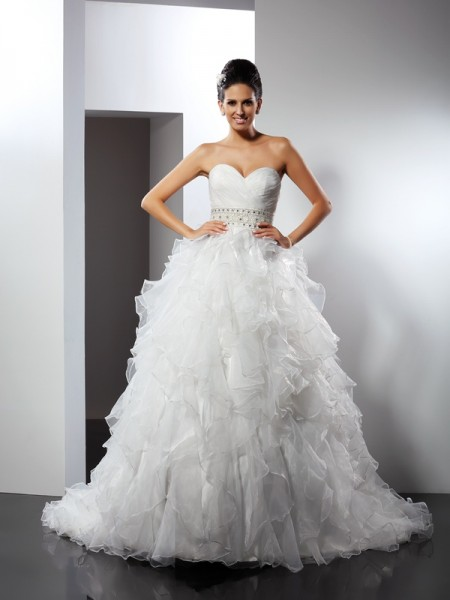 Ball Gown Sweetheart Ruffles Long Organza Wedding Dress