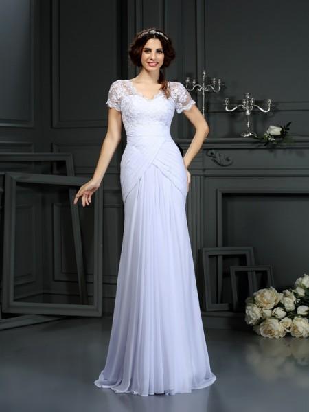Sheath/Column V-neck Lace Short Sleeves Wedding Dress with Long Chiffon