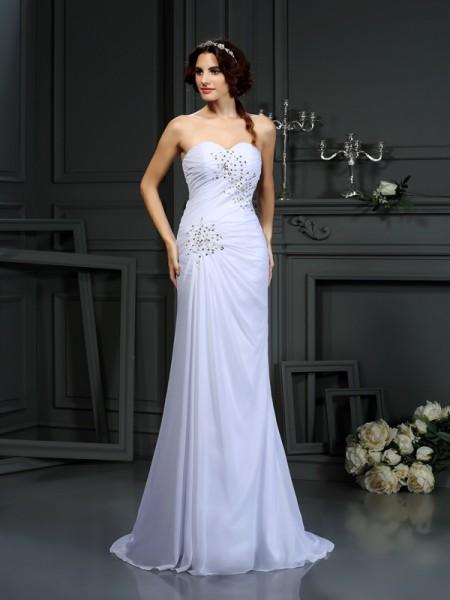 Sheath/Column Sweetheart Beading Wedding Dress with Long Chiffon