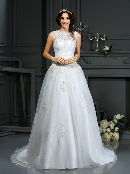A-Line/Princess Scoop Applique Long Net Wedding Dress