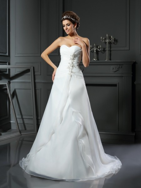 A-Line/Princess Sweetheart Ruched Long Satin Wedding Dress