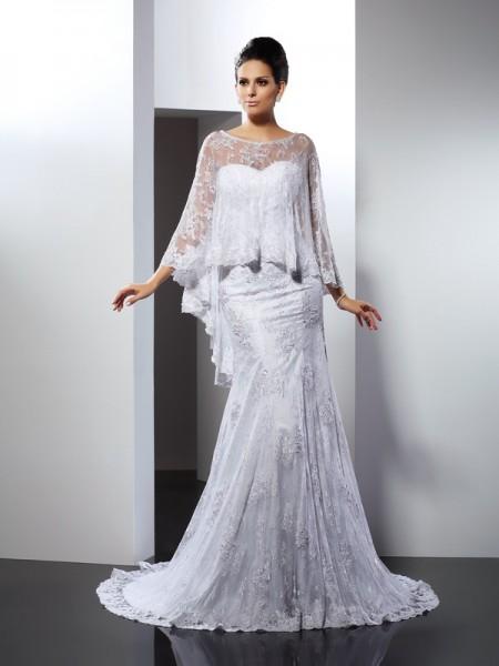 Trumpet/Mermaid Sweetheart Applique Long Lace Wedding Dress