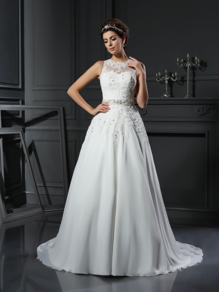 A-Line/Princess High Neck Beading Long Satin Wedding Dress