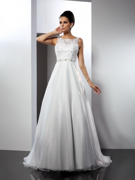 A-Line/Princess Scoop Ruffles Long Satin Wedding Dress