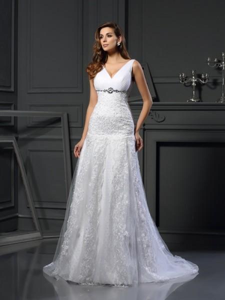 A-Line/Princess V-neck Beading Long Satin Wedding Dress
