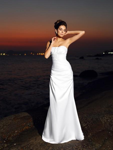 Trumpet/Mermaid Sweetheart Long Satin Beach Wedding Dress