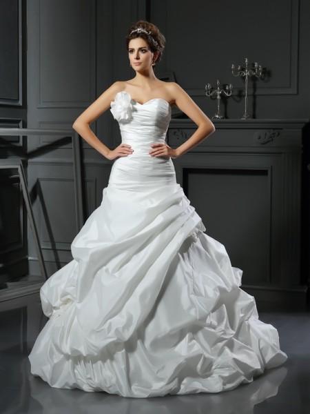 Ball Gown Sweetheart Long Satin Wedding Dress