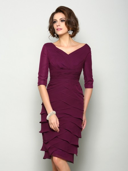 Sheath/Column V-neck 1/2 Sleeves Short Chiffon Mother of the Bride Dress