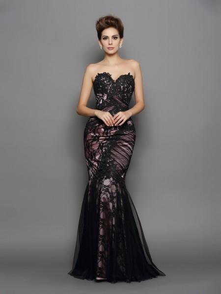 Trumpet/Mermaid Sweetheart Applique Long Elastic Woven Satin Dress