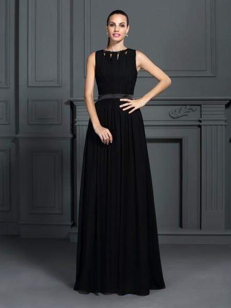 A-Line/Princess Scoop Pleats Dress with Long Chiffon
