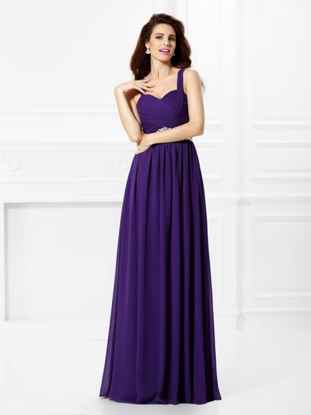 A-Line/Princess Sweetheart Beading Pleats Dress with Long Chiffon