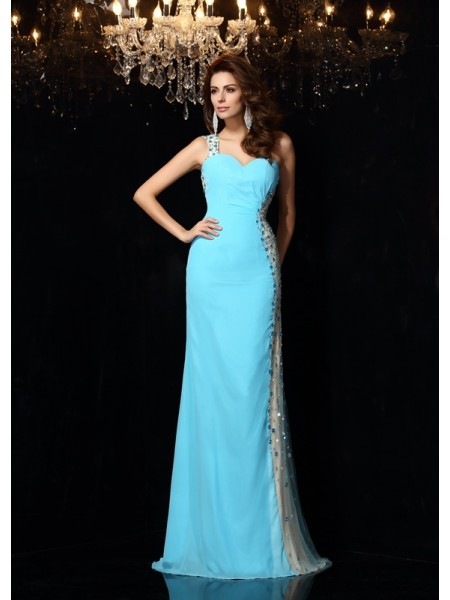 Sheath/Column One-Shoulder Dress with Long Chiffon