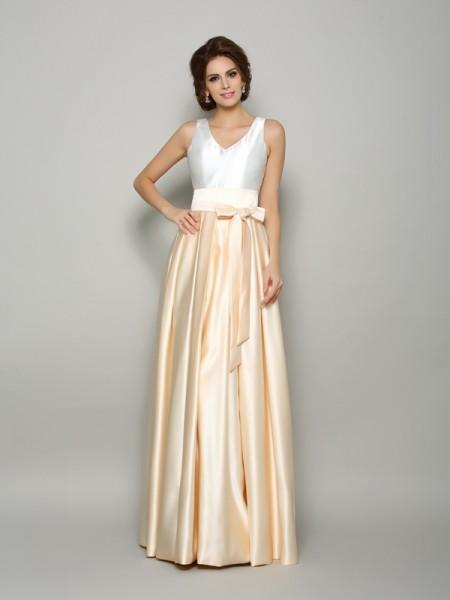 A-Line/Princess V-neck Bowknot Long Satin Mother of the Bride Dress