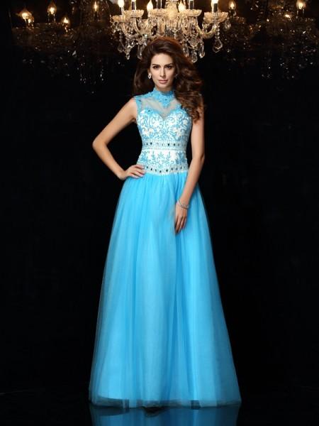 A-Line/Princess High Neck Applique Long Satin Dress