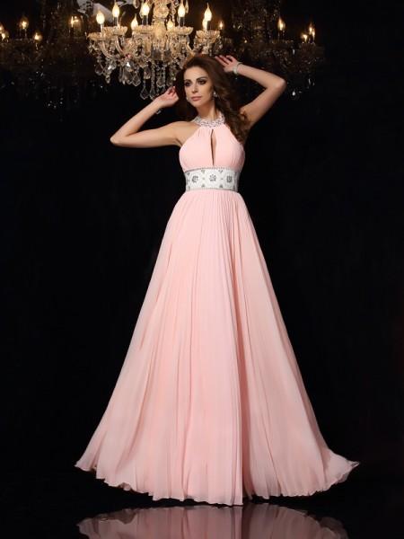 A-Line/Princess High Neck Pleats Dress with Long Chiffon
