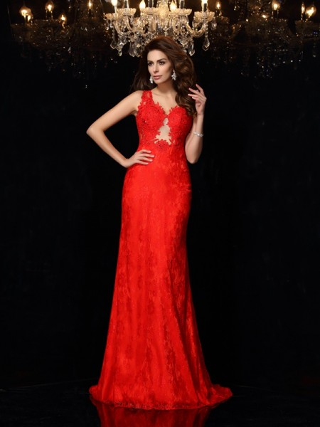 Sheath/Column V-neck Lace Long Satin Dress