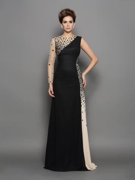 A-Line/Princess High Neck Beading Long Sleeves Dress with Long Chiffon