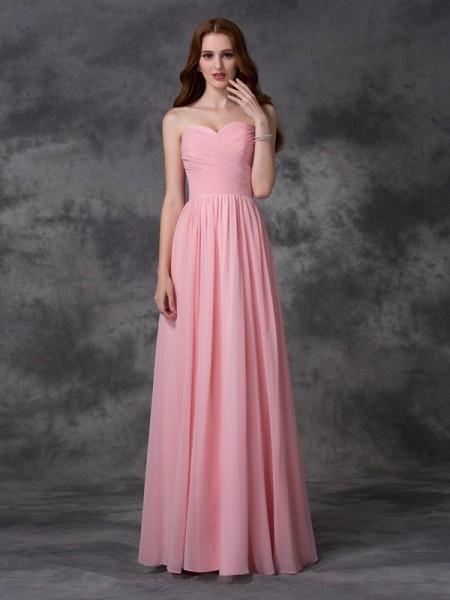 A-line/Princess Sweetheart Ruffles Bridesmaid Dress with Long Chiffon
