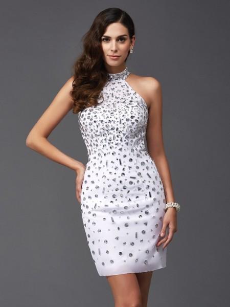 Sheath/Column Halter Short Chiffon Dress