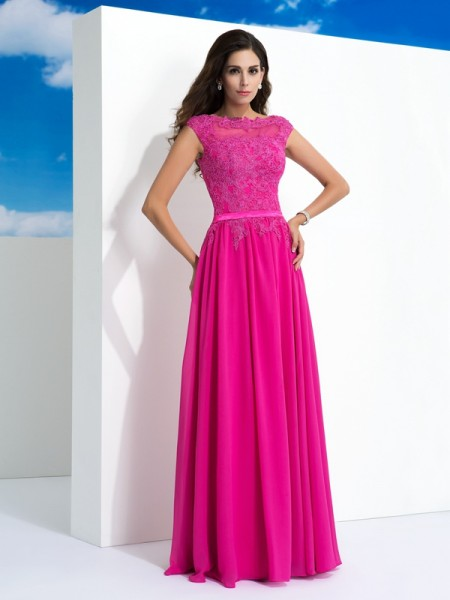 A-Line/Princess Sheer Neck Lace Dress with Long Chiffon