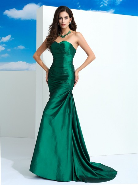 Sheath/Column Sweetheart Pleats Long Taffeta Dress
