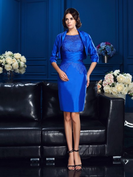 Sheath/Column Scoop Applique Short Sleeves Short Taffeta Mother of the Bride Dress
