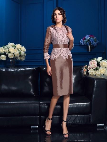 Sheath/Column Jewel Lace Short Sleeves Short Taffeta Mother of the Bride Dress