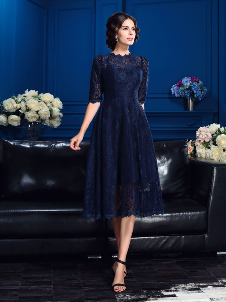 b7085734830 A-Line Princess Jewel Lace 1 2 Sleeves Short Lace Mother of the Bride  Dresses