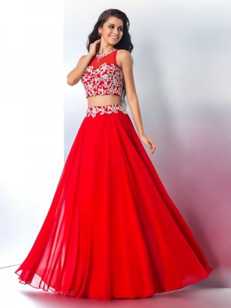 A-Line/Princess Sheer Neck Applique Chiffon Two Piece Dress