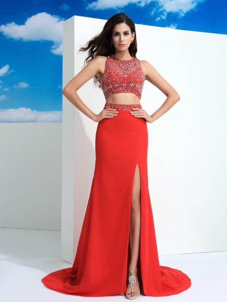 Sheath/Column Scoop Beading Chiffon Two Piece Dress