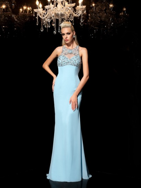 Sheath/Column Sheer Neck Beading Chiffon Dress