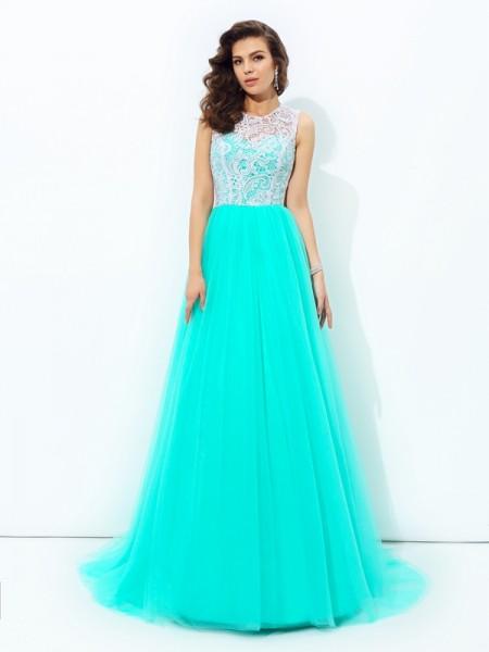 A-line/Princess Scoop Lace Long Net Dress