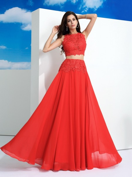 A-Line/Princess Scoop Lace Chiffon Two Piece Dress