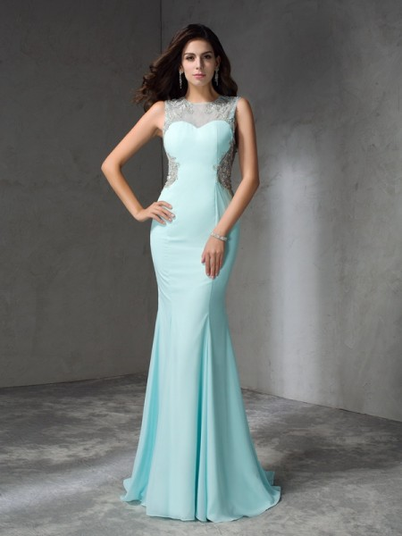 Trumpet/Mermaid Jewel Beading Chiffon Dress