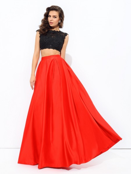 A-line/Princess Scoop Lace Satin Two Piece Dress