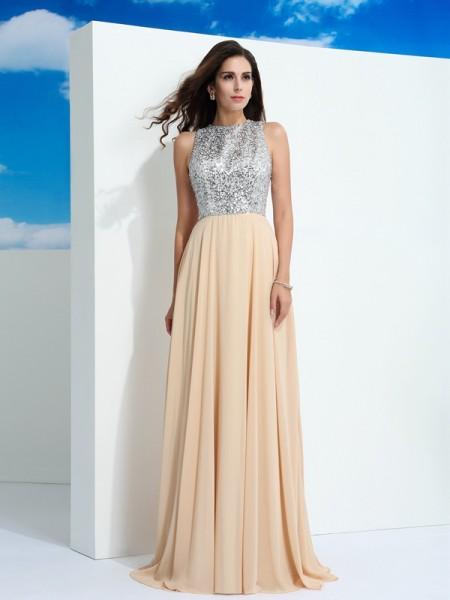 A-Line/Princess Scoop Paillette Chiffon Dress