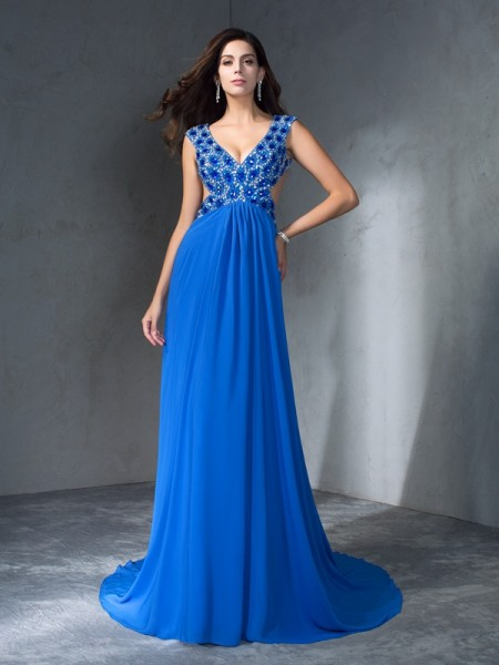 A-Line/Princess V-neck Sequin Chiffon Dress
