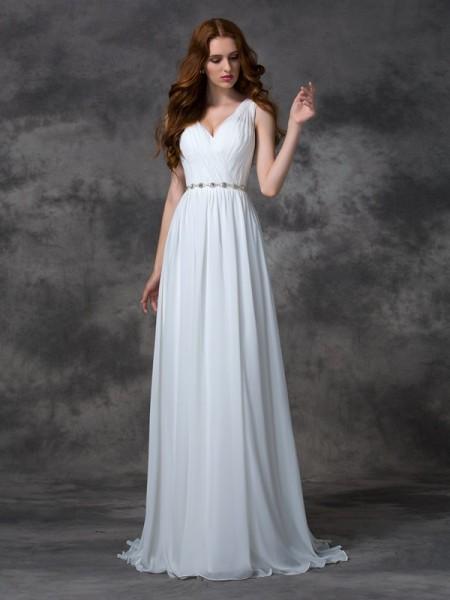 A-line/Princess V-neck Beading Chiffon Dress