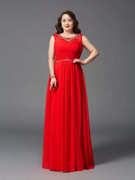 A-Line/Princess Scoop Beading Chiffon Plus Size Dress