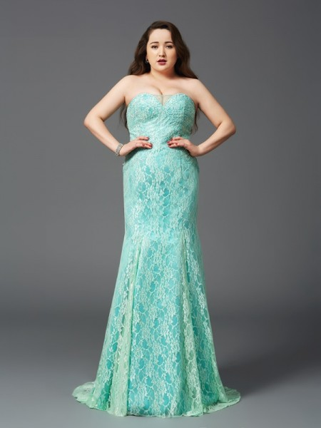 Sheath/Column Strapless Lace Satin Plus Size Dress
