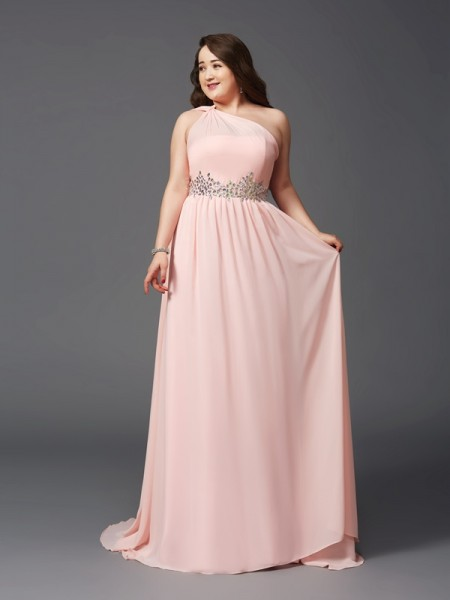 A-Line/Princess One-Shoulder Rhinestone Chiffon Plus Size Dress
