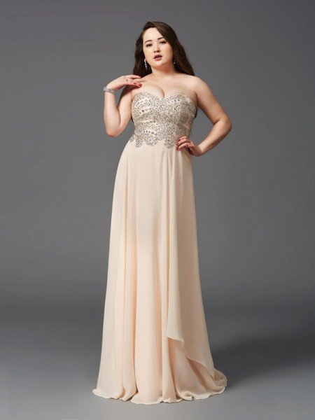 A-Line/Princess Sweetheart Rhinestone Chiffon Plus Size Dress