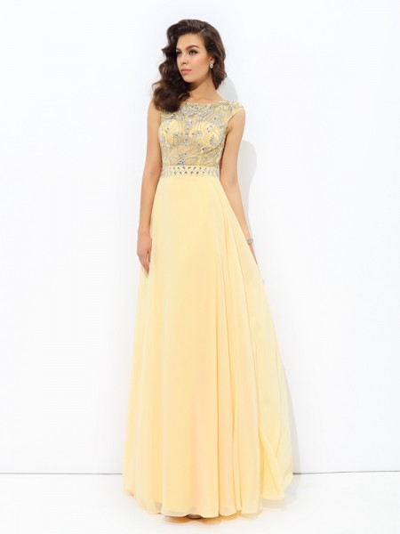 A-line/Princess Bateau Beading Chiffon Dress