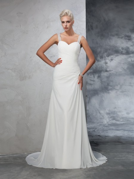 Trumpet/Mermaid Straps Ruched Chiffon Wedding Dress