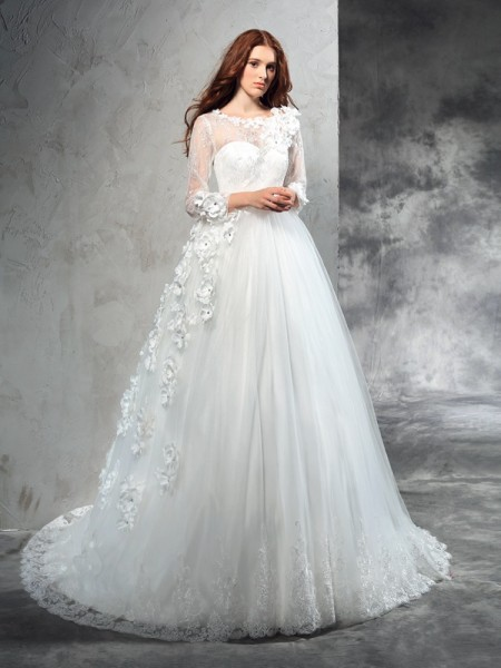 Ball Gown Sheer Neck Long Sleeves Long Net Wedding Dress