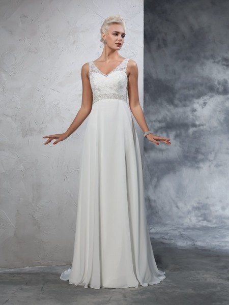 A-Line/Princess V-neck Beading Chiffon Wedding Dress
