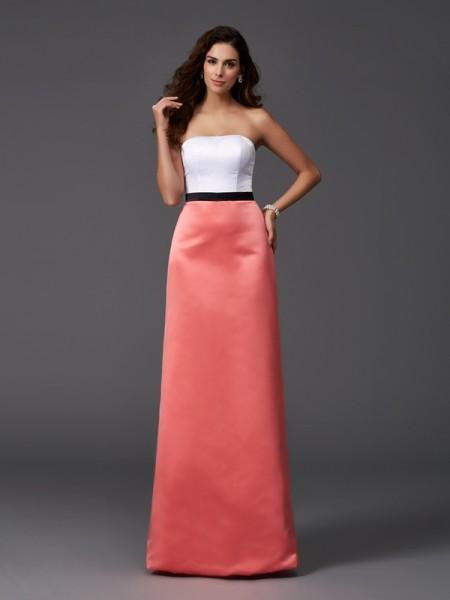 A-Line/Princess Strapless Satin Bridesmaid Dress